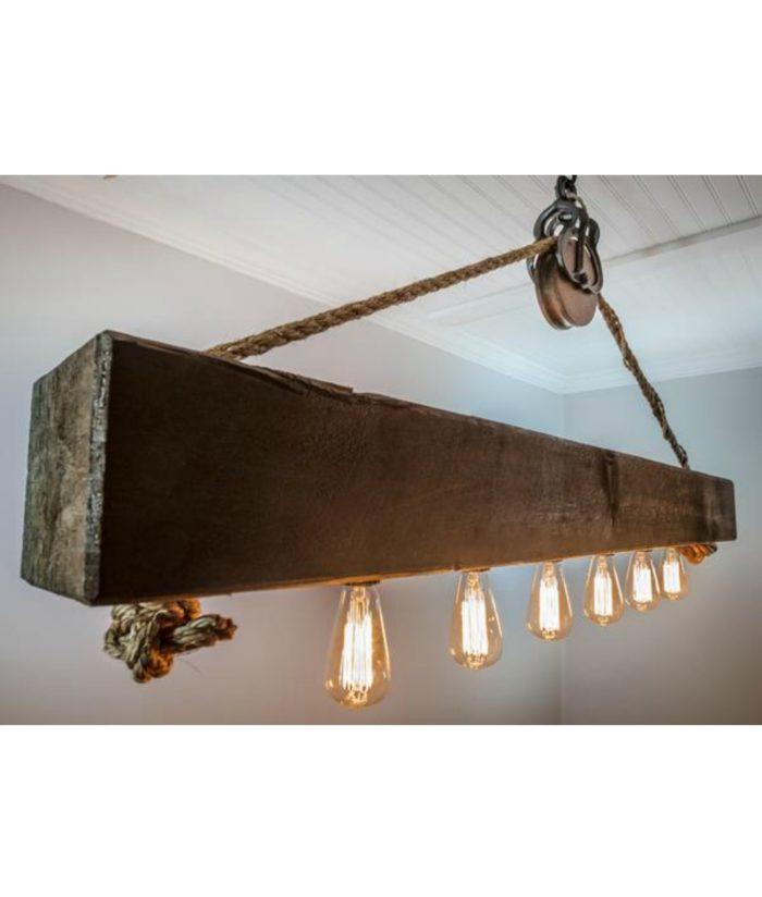 reclaimed wood beam barnwood chandelier