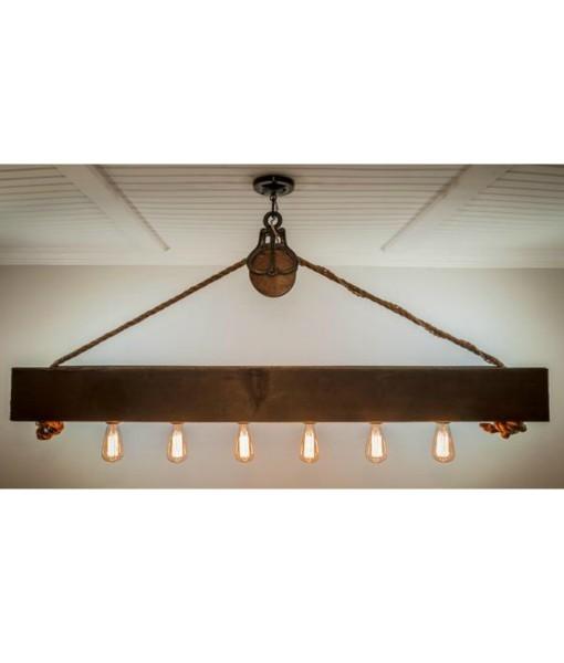 Rustic cabin decor wood beam chandelier