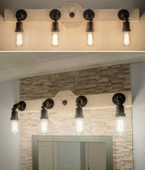 Rustic wood vanity light with Edison bulbs