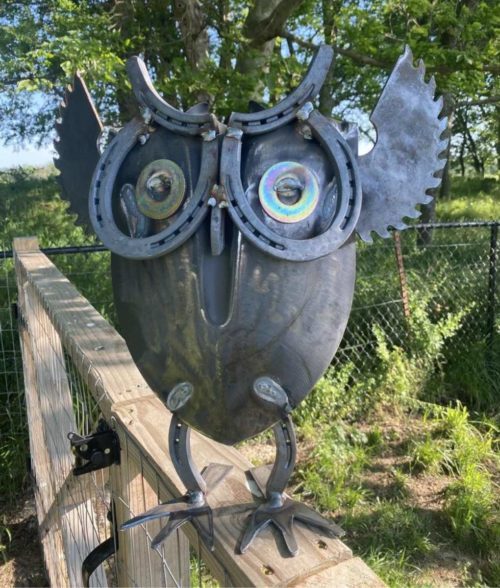 new scrap metal owl yard critter