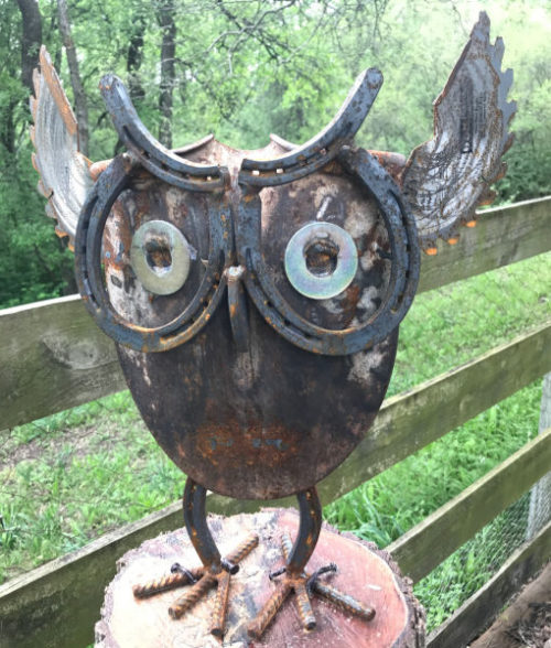 scrap metal owl made from shovel blade