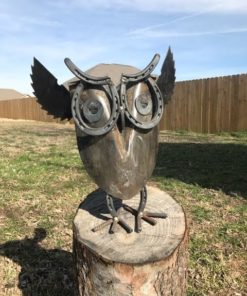 scrap metal garden sculpture owl