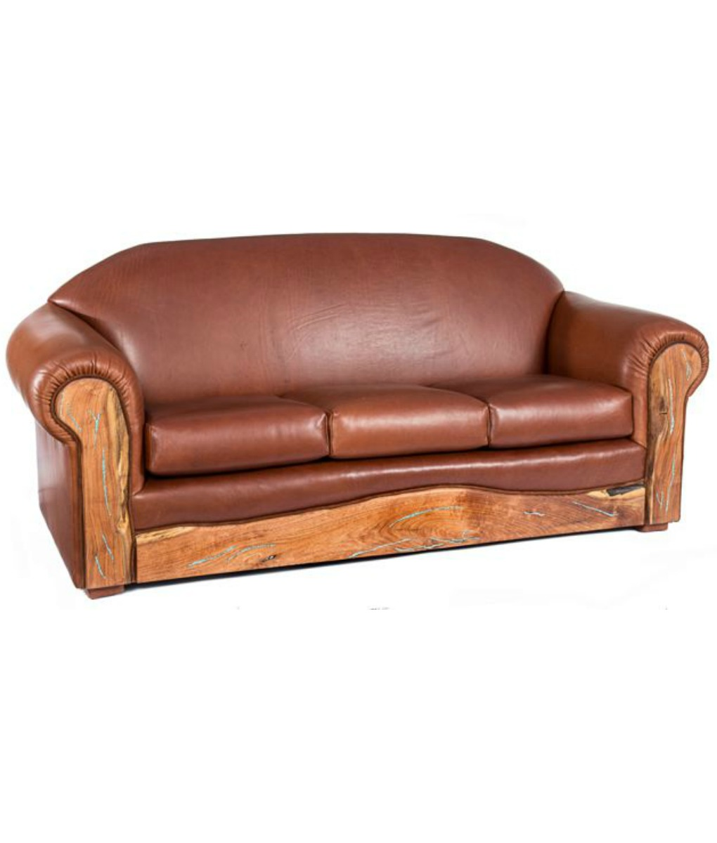 Leather Sofa with Turquoise Inlaid Mesquite arms and kick plate