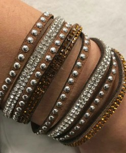 Studs and Rhinestones Wrap Bracelet in Brown