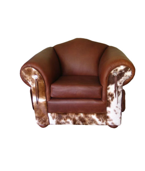 Brown leather chair with cowhide
