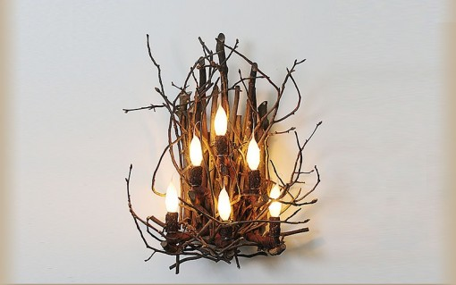 twig wall sconce with 6 candles