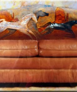 Native American painting on leather sofa back