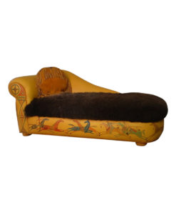 Running horses leather chaise with buffalo fur seat and native American Indian painting