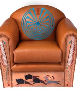 Native American Indian art on leather upholstery
