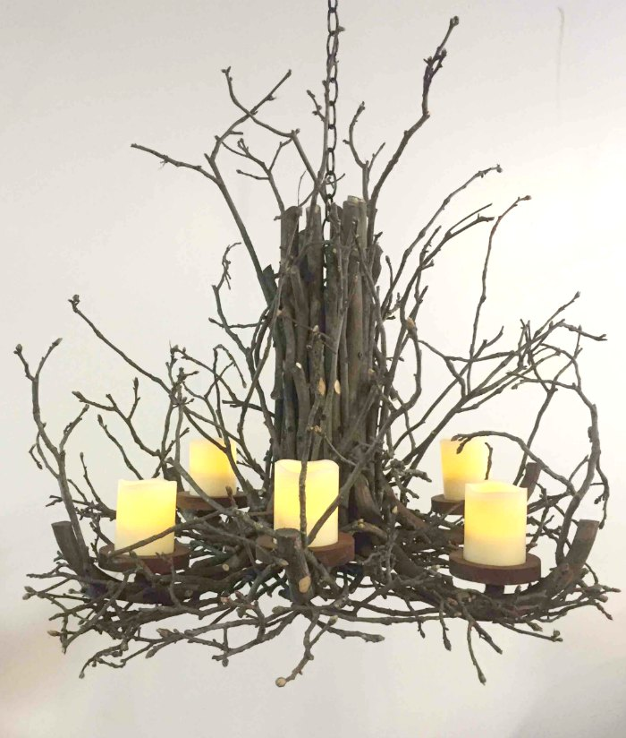 Twig chandelier with battery operated pillar candles, non electric branch chandelier