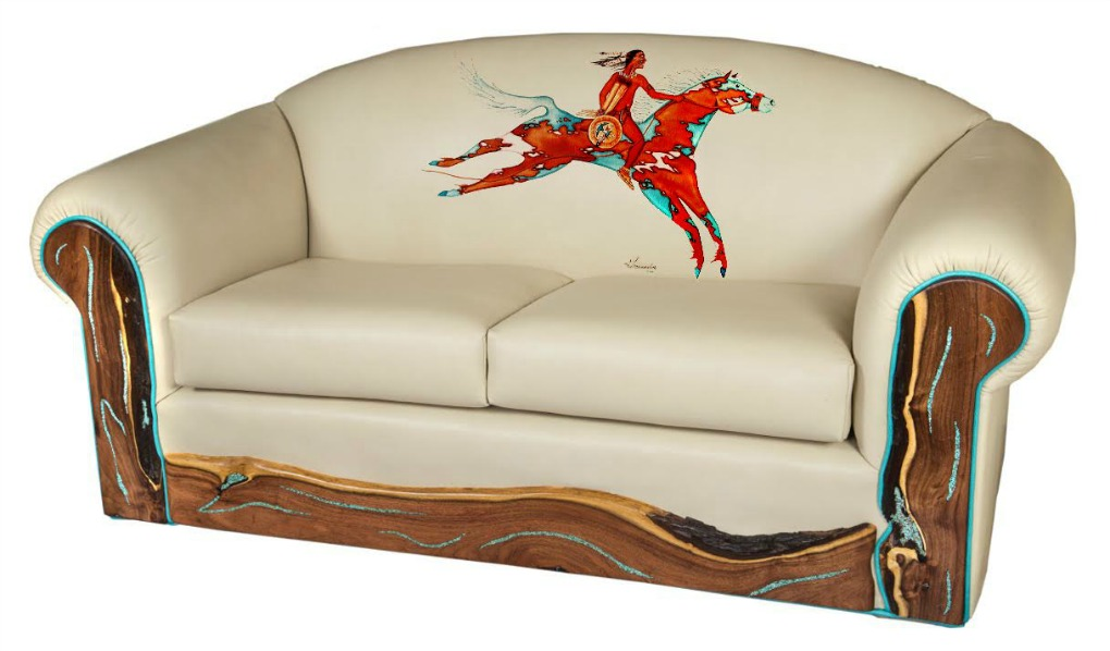 Painting Of American Indian On Horseback Printed Onto Leather Sofa Back