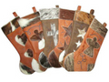 leather and cowhide Christmas stocking personalized