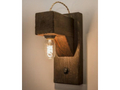rustic wood beam wall sconce with Edison bulb