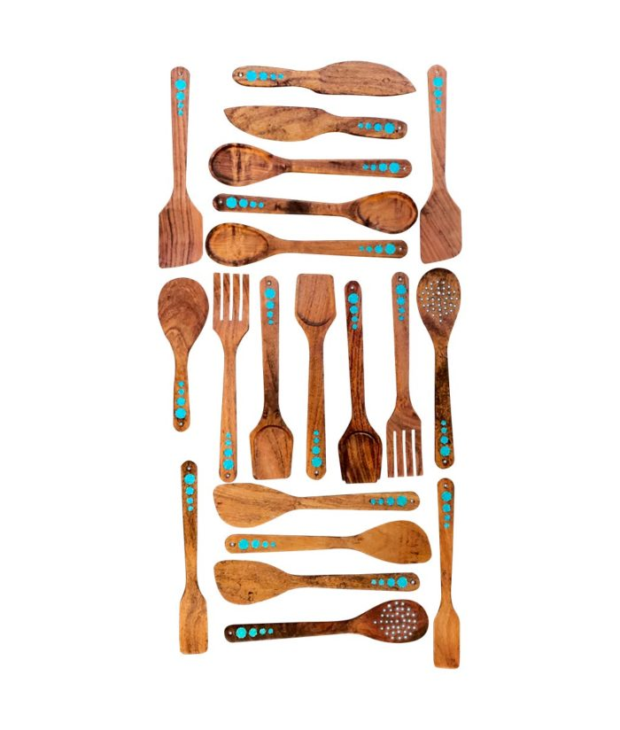 wood spoons and cooking utensils with turquoise inlay - group