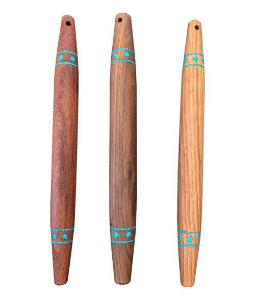 French rolling pin with turquoise inlay