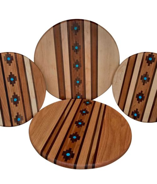 Wood marquetry lazy susans with turquoise inlay