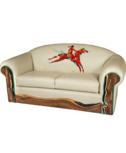 White leather sofa with painted native American Indian on horseback and turquoise inlaid mesquite