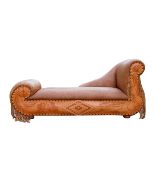 Custom leather chaise lounge sleigh frame