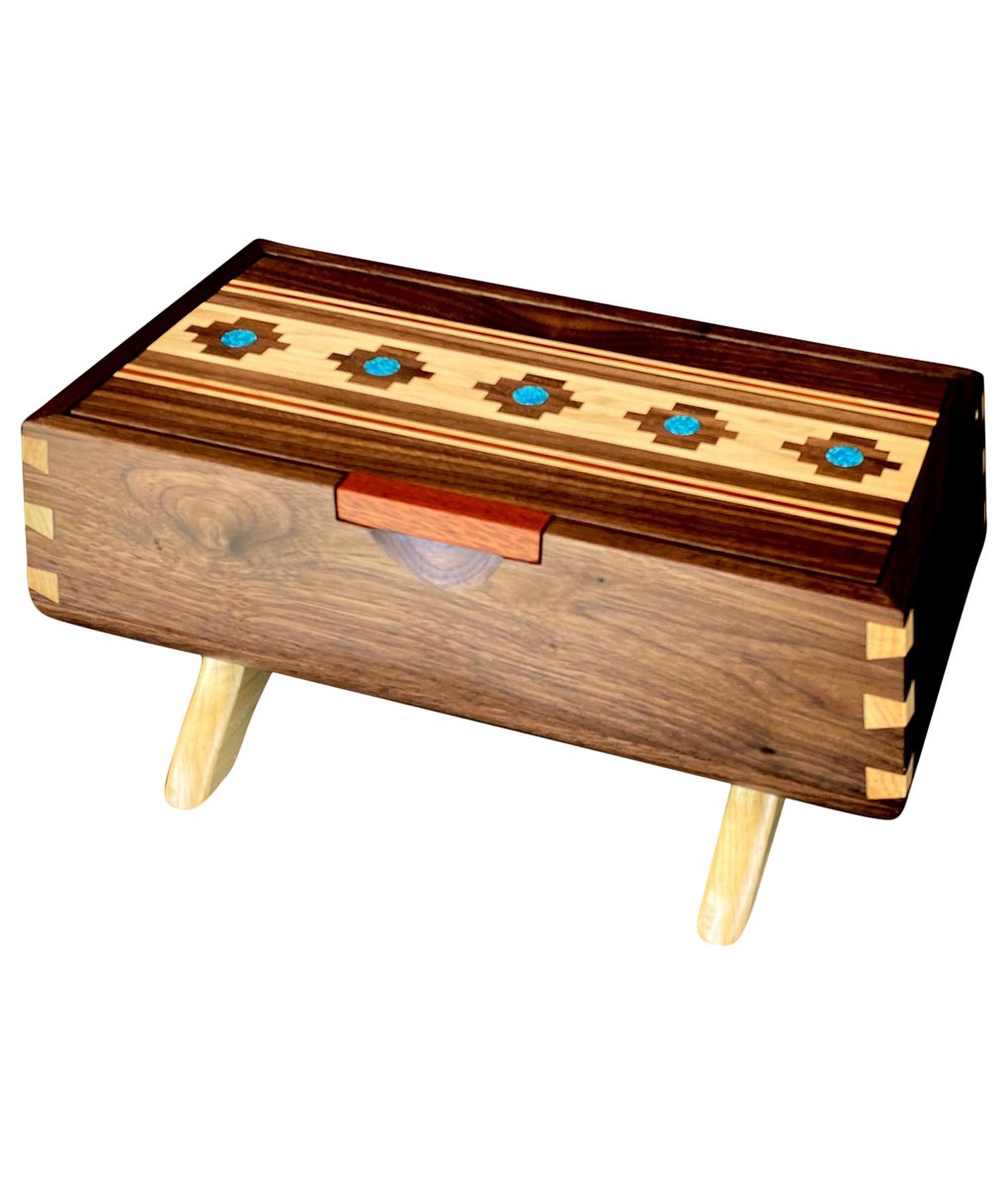 wood marquetry keepsake box with turquoise inlay
