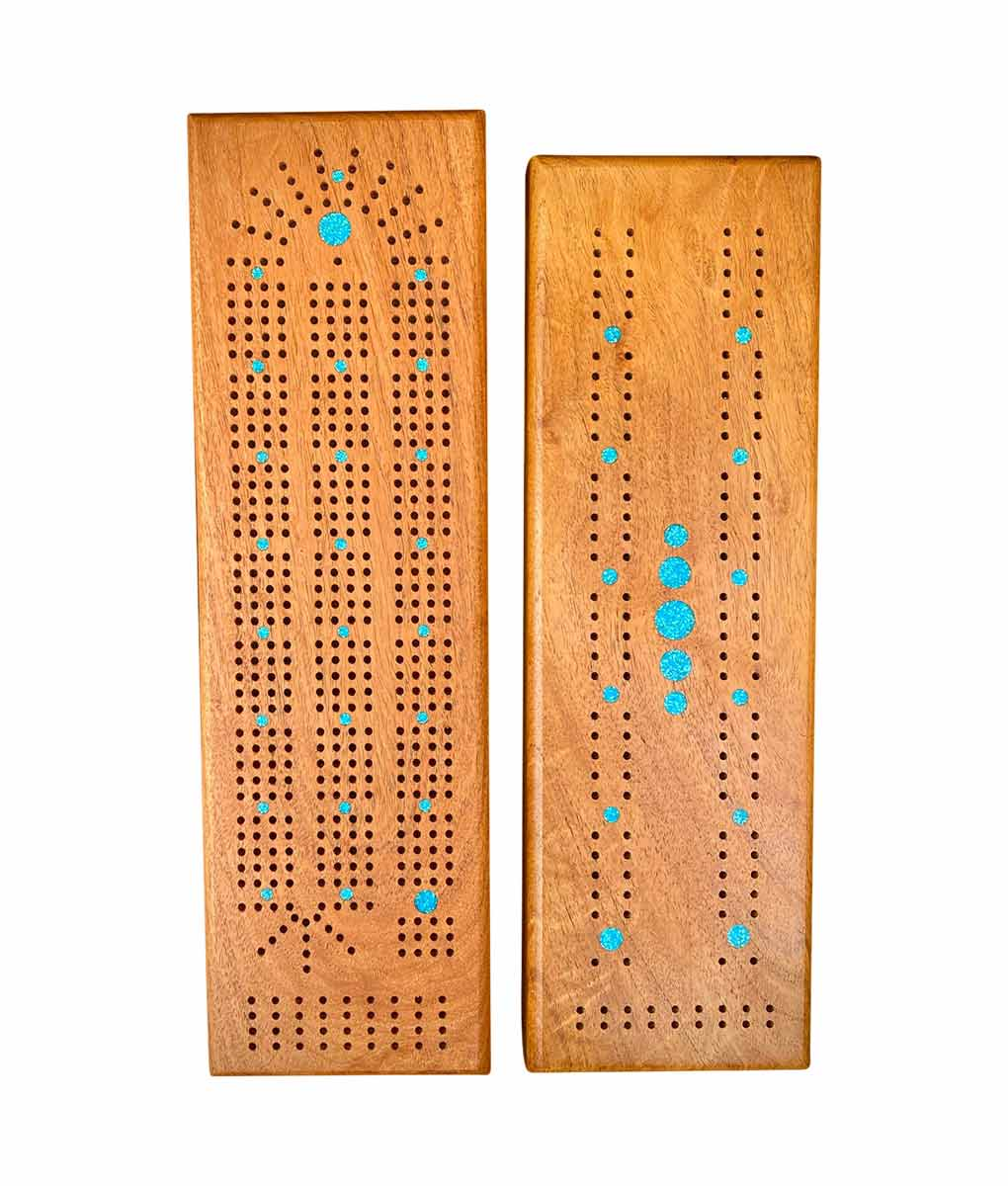 cribbage boards with turquoise inlay for 2 or 4 players