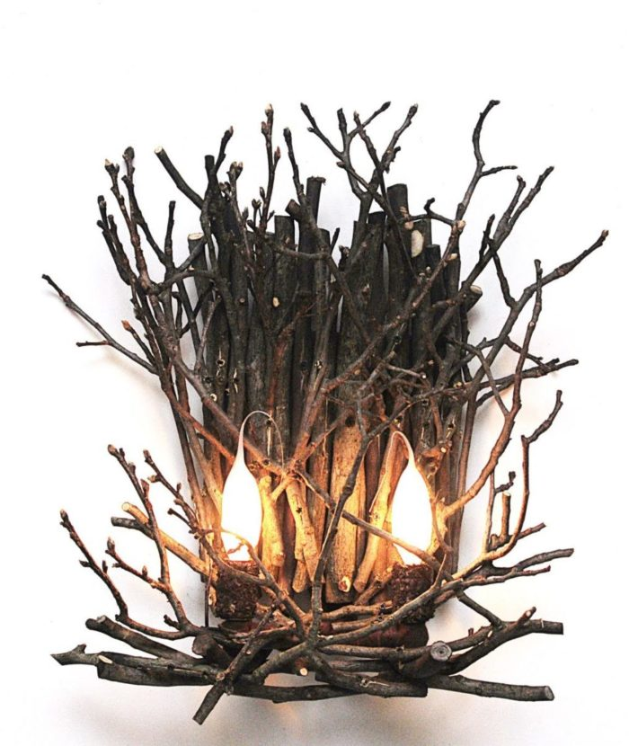 twig wall sconce with 2 lights