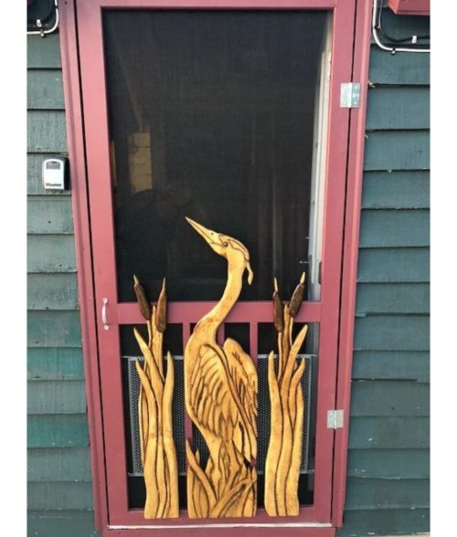carved heron and cattails screen door panels (2)