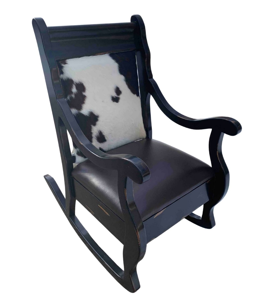 cowhide and leather rocking chair