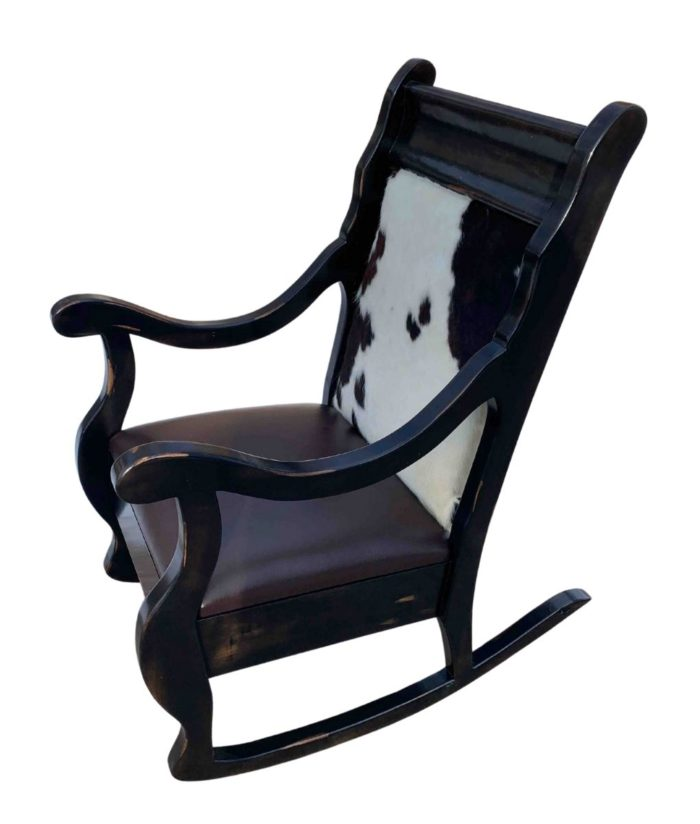 Western cowhide and leather rocking chair