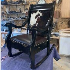 cowhide and leather rocker